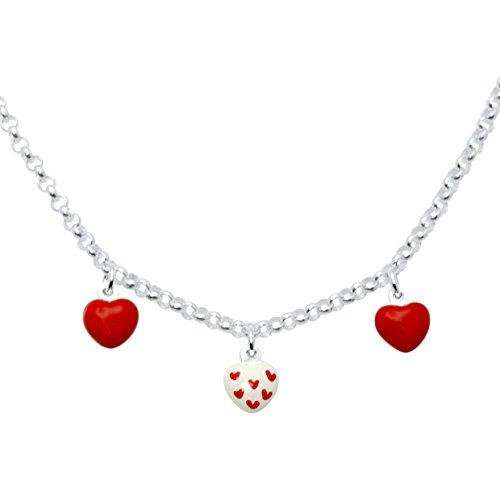 Enamel Heart Necklace - UNICORNJ Sterling Silver 925 Childrens Necklace with Enamel Red Heart Charms Italy