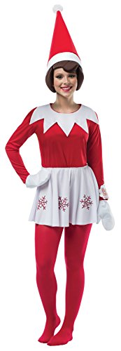 UHC Women's Elf on the Shelf Outfit w/ Hat Holiday Theme Party Christmas Costume, (Holiday Theme Party Costumes)
