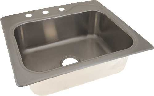 Sterling Plumbing 559858 Stainless Steel Sink Single Bowl 19 Ga 3-Hole 25'' x 22'' x 8'', 9'' x 29.2'' x 24'' by Sterling Plumbing
