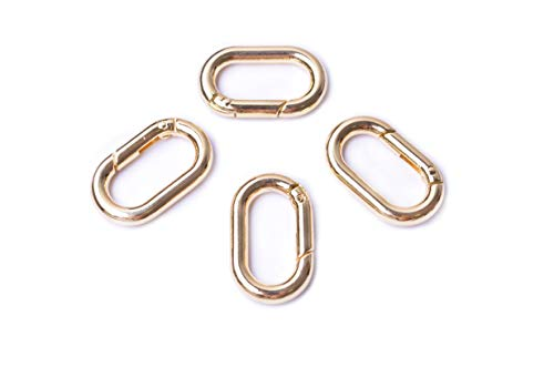 Bobeey 4pcs Carabiner Metal Spring Key Ring,Spring Snap Hooks Clip,Spring Keyring Buckle,Oval Ring for Bags,Purses BBC39(Light Gold)