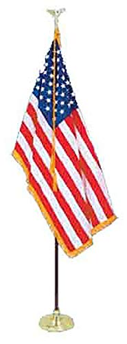(8' Presidential Formal Indoor U.S. Flag Set with 8' Pole, Stand and Eagle Ornament for Offices, Schools, Churches & Auditoriums by All Star Flags)