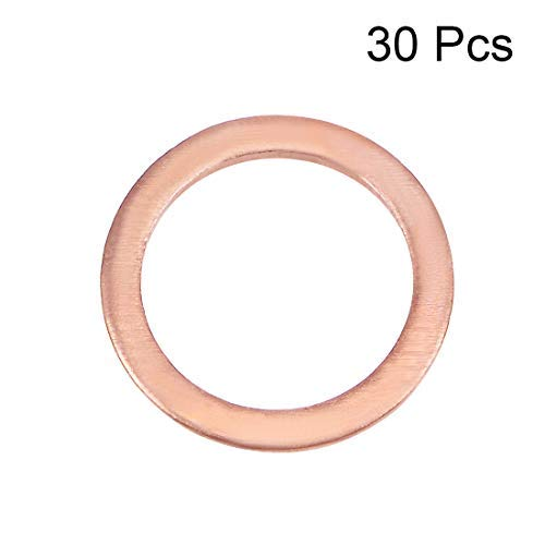 30Pcs 12.3mm x 16mm x 1.5mm Flat Copper Washer for Screw Bolt
