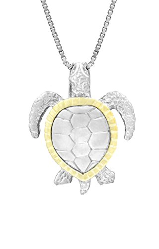 Gold Honu Turtle (Sterling Silver and 14K Yellow Gold Turtle Honu Necklace Pendant with 18