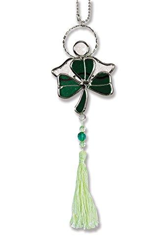 - BANBERRY DESIGNS Shamrock Suncatcher - Green Stained Glass Shamrock with Irish Angel - Irish Decor - St. Patrick's Day Decoration - Glass Shamrock - Irish Gifts - Irish Sun Catcher