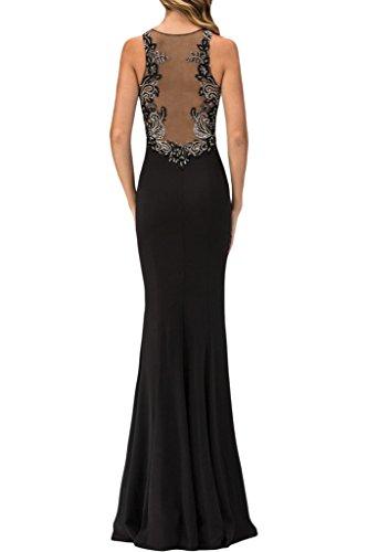 alta ressing Abito abito Girocollo qualità Prom abito sera della ivyd vestito del Fest linea da Nero di qualità partito alta Perle Donna di Ywgqd4C