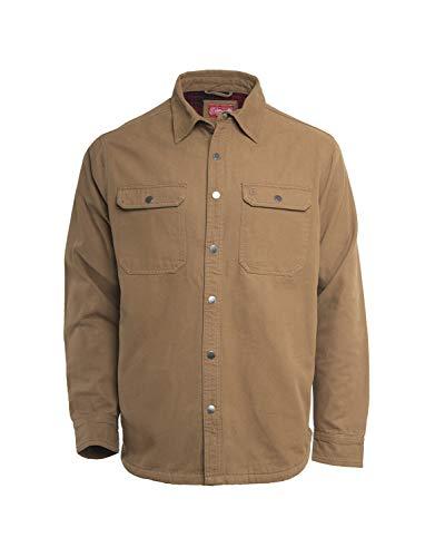 Coleman Fleece Lined Washed Canvas Shirt Jackets for Men (Medium, Caramel) ()
