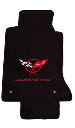 Corvette Monogram (Corvette C2 Coupe/convertible - Official Corvette Logo- Carpeted 2 Piece Floor Mat Set 1963-1967 Customize your Mat, Edging, Heel pad Colors)