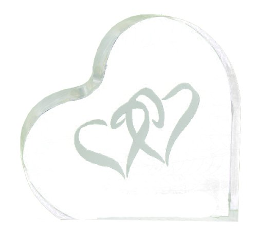 Hortense B. Hewitt Wedding Accessories Acrylic Linked at The Heart Cake Top, 4-Inch
