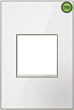 adorne Mirror White on White 1-Gang Metal Wall Plate
