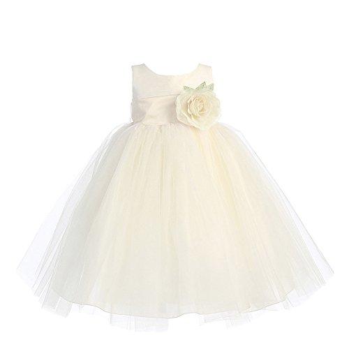 Blossom Poly Silk Bodice & Tulle Skirt Flower Girl Dress (6-12 Months, Ivory/Ivory)
