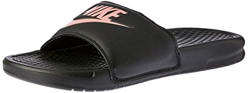 Nike Women's Benassi Just Do It Sandal, Black/Rose Gold, 9 Regular US