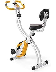 Ultrasport motionscykel F-cykel, LCD-display, hopfällbar hemtränare, opt. Med ryggstöd, justerbara motståndsnivåer, med handpulssensorer, vikbar cykelskopa, för idrottare och seniorer