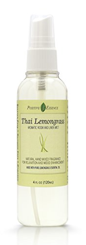 Positive Essence Thai Lemongrass Linen & Room Spray - Natural Aromatic Mist Made with Pure Lemongrass Essential Oil - Relax Your Body & Mind – Perfect as a Bathroom Air ()