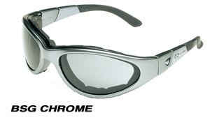 BSG-Chrome Silver Frame smoke-green lens, combins Fashion and Function. The ultimate Goggle/Sunglass includes 2 extra lens 2.0mm Clear, Lt. Rust,Strap, Arms,removeable Gasket, cleaning cloth,case.