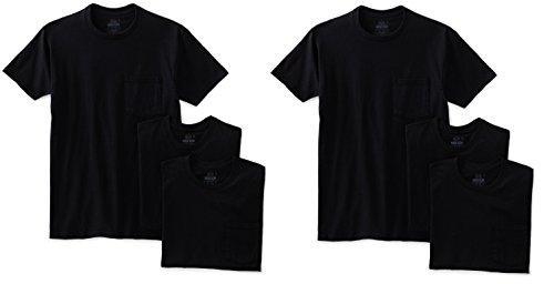 Fruit of the Loom Men's 6Pack Work Gear Black Pocket T-Shirt - Large