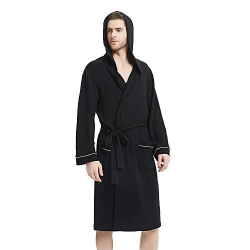 U2SKIIN Mens Hooded Bathrobe, Lightweight Bathrobe with Hood, Plush Cotton Spa Robe for Men ()