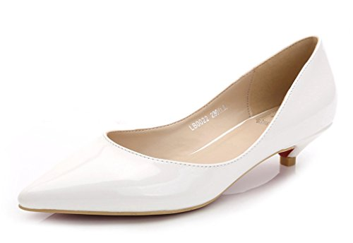 CAMSSOO Women's Classic Slip On Pointed Toe Low Kitten Heel Wedding Dress Pumps Shoes White Patent Leather 10 M US