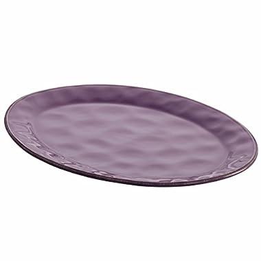 Rachael Ray Cucina Dinnerware Stoneware Oval Platter, 10-Inch by 14-Inch, Lavender/Purple