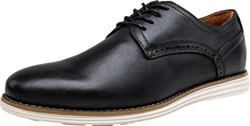 VOSTEY Men's Dress Shoes Leather Plain Toe Oxford Business Shoes (10,Plain-Black) (Best Mens Derby Shoes)