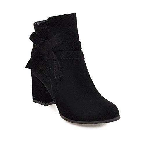 Stivali Stivali Stivali Tacco Spesso e STI Nero Dolce Bowknot Autunno Laterale Femminili Inverno Zip rqz8rO