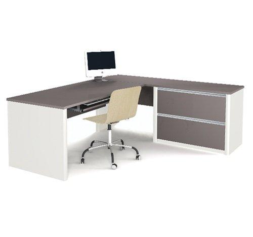 (Slate & Sandstone L-shaped Corner Computer Desk with Oversized Pedestal)