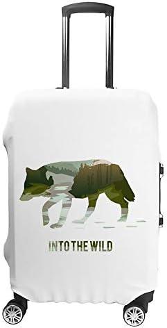 スーツケースカバー トラベルケース 荷物カバー 弾性素材 傷を防ぐ ほこりや汚れを防ぐ 個性 出張 男性と女性クマのシルエットのある風景します