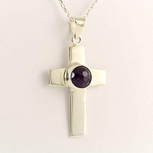 Sterling Silver Totally Hand-Cut 1 inches Cross with Faceted Amethyst Pendant Necklace 18+2 inches Chain ()