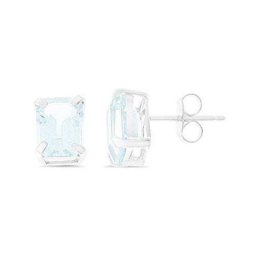 (2.84CTW 14K White Gold Genuine Natural Aquamarine Emerald Cut 6 x 8 mm. Solitaire Stud Earrings)