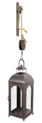 Melrose 50'' French Countryside Wall Mounted Pulley Metal and Glass Lantern by Melrose