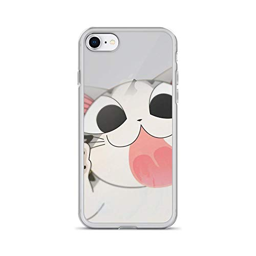 iPhone 7/8 Pure Clear Case Cases Cover Pink Lovely Cat Cut Kitten Cartoon Animal Babies Art Drawings ()