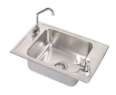 Elkay PSDKRC2517C Pacemaker Stainless Steel 25-Inch x 17-Inch Top-Mount Single Basin Classroom Sink with Faucet