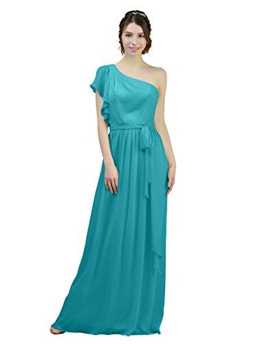 Robes Maxi Alicepub De Demoiselle D'honneur En Mousseline De Soie Asymétrique Longue Partie Turquoise Robe De Bal Du Soir