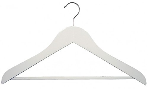 NAHANCO 2007-15W Wooden Shirt Hanger Low Gloss White Finish and Bright Chrome Hardware Pack of 50 17 Concave Executive Series