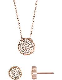 14K Rose Gold Jewelry Set 5A Cubic Zirconia Pendant...