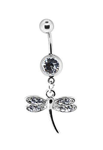 Mandala Crafts Bow Seahorse Cross Dangle Cute Belly Button Ring Body Jewelry for Navel Piercings (Dragonfly 1) (Belly Button Rings Dangle Horse)