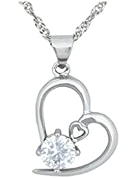 Tapp Collections™ White Gold 925 Silver Necklace Crystal Heart Shape Pendant