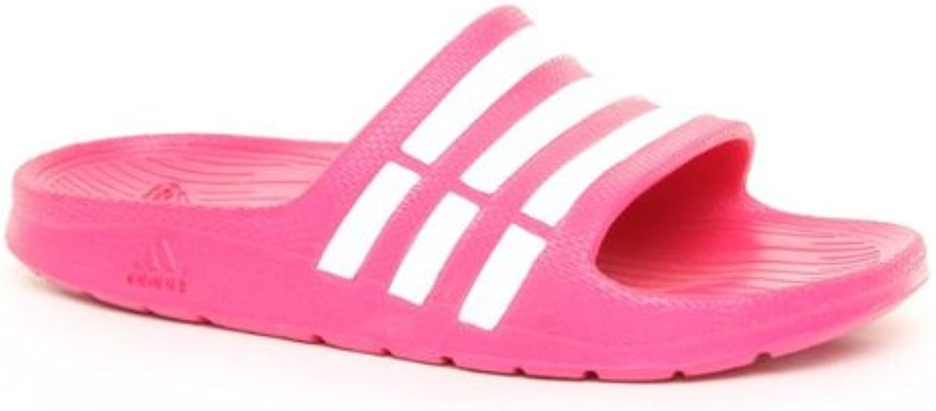 21bc375c55e8 Girls Pink and White Adidas Duramo Slide Flip Flop. Back. Double-tap to zoom