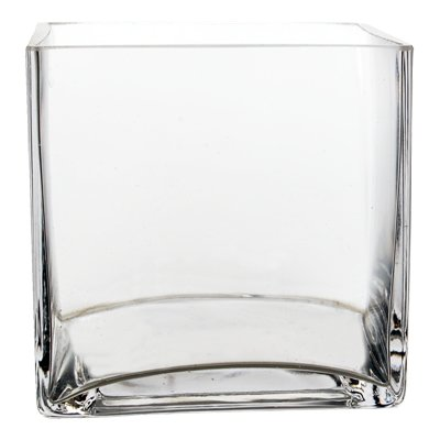 "Bulk 6 Pieces 6"" Clear Glass Square Vase ( 6 Pieces)"