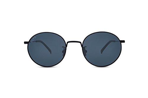 DIFF Eyewear Daisy Metal Round Polarized Womens Designer Sunglasses Grey - Diff Sunglasses