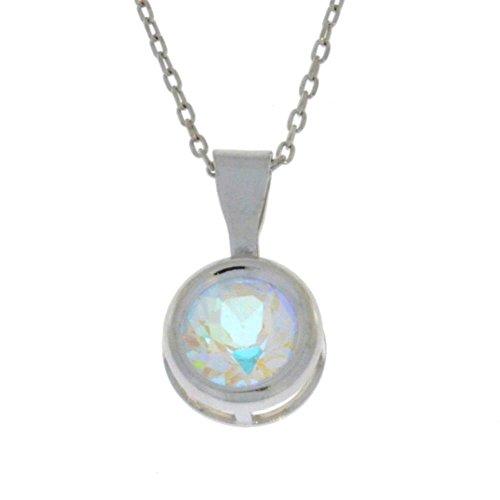Natural Mercury Mist Mystic Topaz Round Bezel Pendant .925 Sterling Silver Rhodium Finish