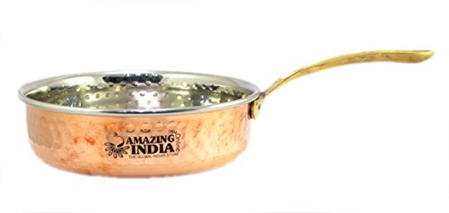 - Amazing India Hand Hammered Solid Natural Copper Fry Pan, Pot Pan, 6.3'' Inch Width