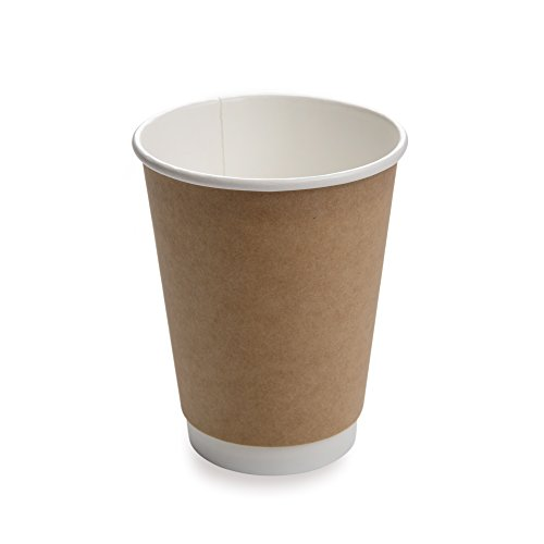 - 25-CT Disposable Kraft 12-OZ Hot Beverage Cups with Double Wall Design: No Need for Sleeves – Perfect for Cafes or Home Use – Eco-Friendly Recyclable Paper – Insulated – Wholesale Takeout Coffee Cup
