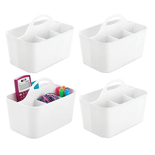 (mDesign Small Office Storage Organizer Utility Tote Caddy Holder with Handle for Cabinets, Desks, Workspaces - Holds Desktop Office Supplies, Gel Pens, Pencils, Markers, Staplers - 4 Pack - White)