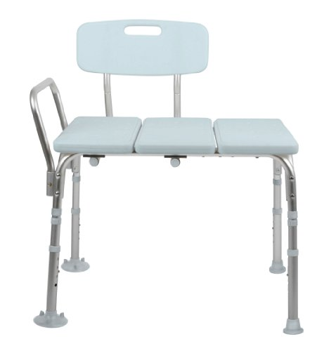 Medline Transfer Bench with Back, Knockdown, Microban