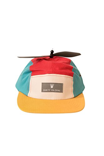 Price comparison product image Kids Propeller 5 Panel Camper Hat (Red Dark Grey Turquoise Cream Gold)