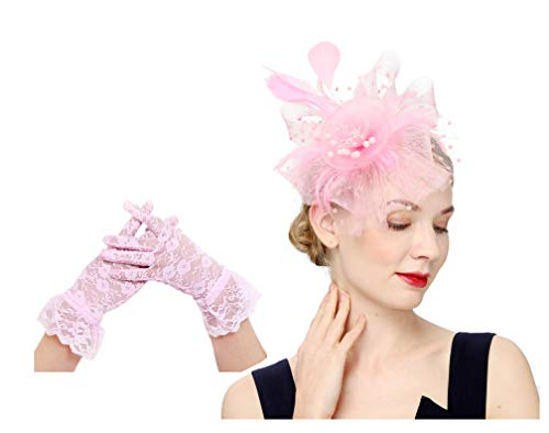 Flower Cocktail Tea Party Headwear Feather Fascinators Top Hat for Girls and Women(1-Pink set) -