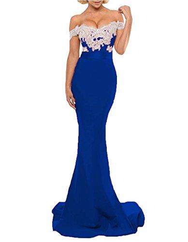Dressesonline Sirène Épaule Robes Robes De Demoiselle D'honneur Formelle Longue Robe De Soirée Bleu Royal Des Femmes