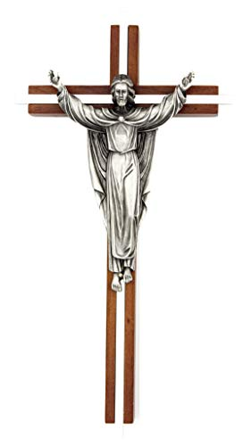 "Silver Tone Risen Christ 10"" Wall Crucifix -Maple Hardwood Walnut Finish Cross with Nickel Plate Inlay and Antique Pewter Christ is Risen Corpus-Includes Saint Gregory"