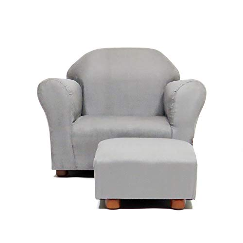 (Keet Roundy Childrens Chair Microsuede with Ottoman, Grey)