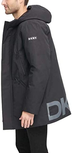 DKNY mens Water Resistant Hooded Logo Parka Jacket
